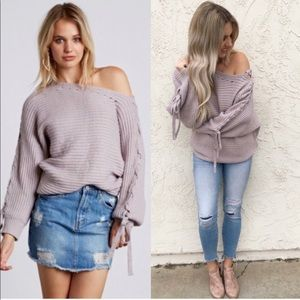 Cotton Candy LA Off Shoulder Sweater in Lilac